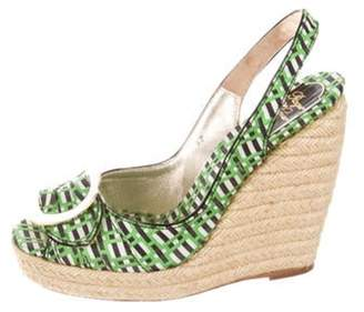 Roger Vivier Canvas Wedge Sandals Green Canvas Wedge Sandals