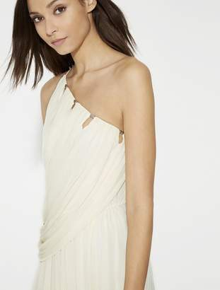 Halston One Shoulder Ruched Chiffon Jersey Gown