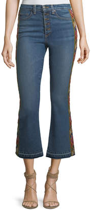 Veronica Beard Carolyn Baby Boot Cropped Jeans with Tapestry Side