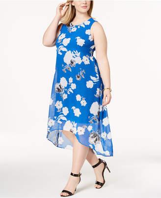 Alfani Plus Size Printed High-Low Midi Dress, Created for Macy's