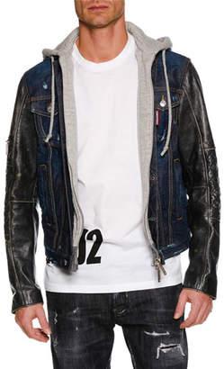 DSQUARED2 Men's Hooded Denim Jacket w/ Leather Sleeves