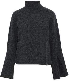 Derek Lam 10 Crosby Zip-Detailed Brushed Wool-Blend Turtleneck Sweater