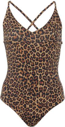 Anémone Plunging Leopard One Piece Swimsuit