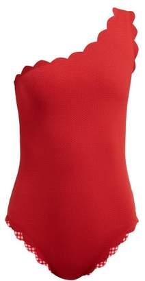 Marysia Swim Santa Barbara Reversible Scalloped Edge Swimsuit - Womens - Red
