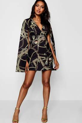 boohoo Jade Chain Print Cape Sleeve Mini Dress