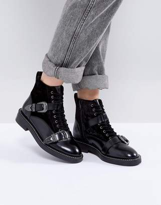 Office Asteroid Leather Buckle Boots