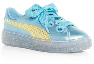 Puma x Sophia Webster Women's Glitter Princess Leather Lace Up Platform Sneakers