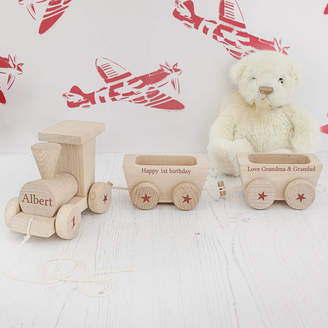 Jonny's Sister Personalised Birthday Wooden Train Set