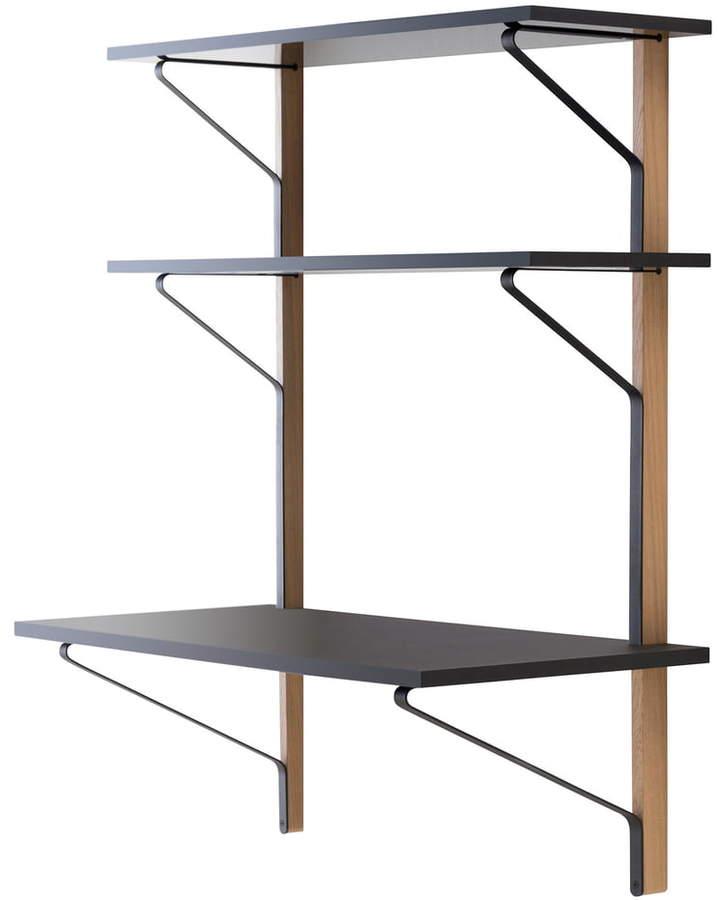 REB 013 Kaari Wandregal mit Schreibtisch, 100 cm, Schwarz / Eiche natur