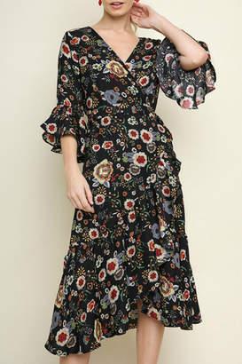Umgee USA Floral print wrap dress