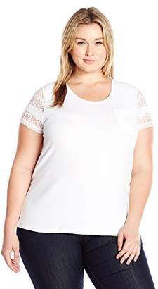 Caribbean Joe Women's Plus Size Short Solid Cotton Spandex Lace Sleeve Tee