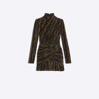 Balenciaga Draped stretch dress in black and gold velvet jersey jacquard