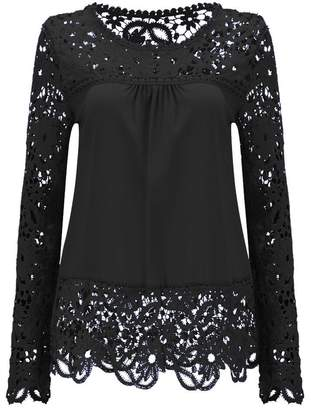 c6833021bd0 Ealafee Sexy Chiffon Lace Tops Sexy for Summer Blouse for Lady Black Tunics