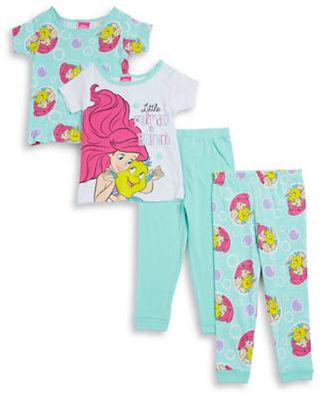 Ame Sleepwear :Little Girls Four-Piece Little Mermaid Pajama Set $42 thestylecure.com