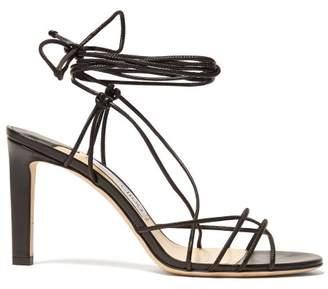 Jimmy Choo Tao 85 Wrap Around Leather Sandals - Womens - Black