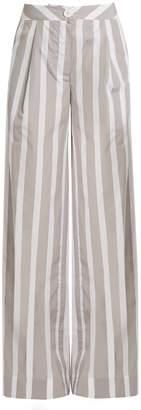 Lou Lou wide-leg striped cotton trousers