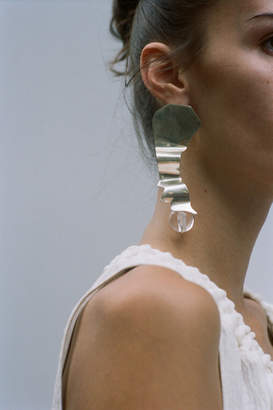 3.1 Phillip Lim Warped Silver With Plexi Ball Earring
