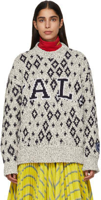 Calvin Klein Off-White and Navy Yale Edition University Sweater