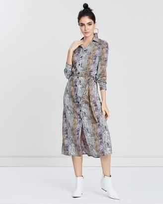Miss Selfridge Lilac Snake Print Midi Dress