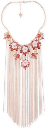 """GUESS Rose Gold-Tone Flower & Chain Fringe Statement Necklace, 15"""" + 3"""" extender"""