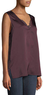 NYDJ Lace-Trimmed V-Neck Satin Tank