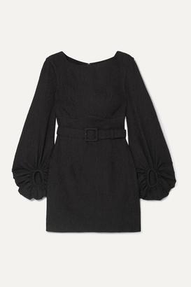 Rebecca Vallance Greta Open-back Belted Cloque Mini Dress