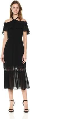 Nanette Lepore Nanette Women's Cold Shoulder Halter Neck Maxi Dress