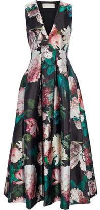 Sachin + Babi Rubie Pleated Floral-Print Duchesse Satin-Twill Maxi Dress
