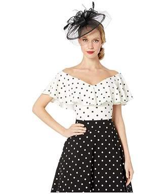Unique Vintage 1950s White Black Polka Dot Off-the-Shoulder Ruffle Frenchie Top