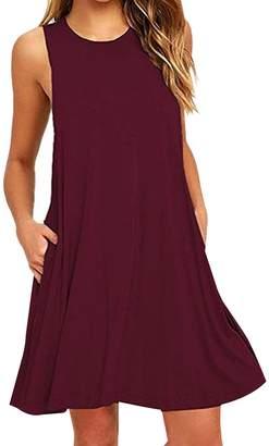 OMZIN Women's Pocket Dress Sleeveless Stretch Solid Short Tank Dresses Green,M