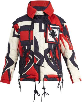 Moncler Abstract-print quilted hooded down jacket