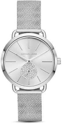 Michael Kors Silver-Tone Portia Mesh Bracelet Watch, 37mm