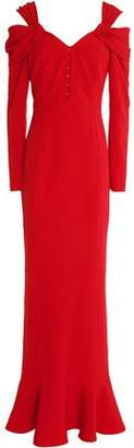 Mikael Aghal Fluted Cold-shoulder Stretch-crepe Gown