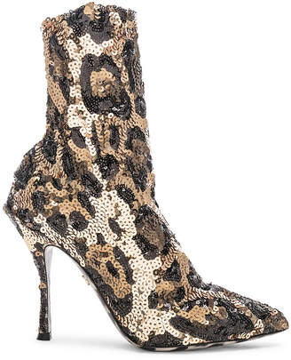 Dolce & Gabbana Leo Print Stretch Sequin Booties in Cheetah | FWRD
