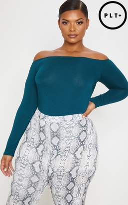 PrettyLittleThing Plus Emerald Green Basic Bardot Bodysuit