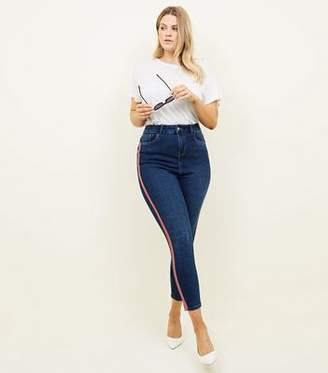 New Look Curves Blue Side Stripe High Waist Super Skinny Jeans