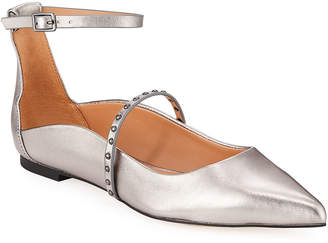 Halston Arwen Studded Metallic Ankle-Strap Flats