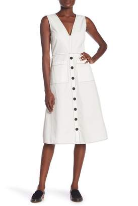Joie Sleeveless V-Neck Nadinaly Button-Down Dress