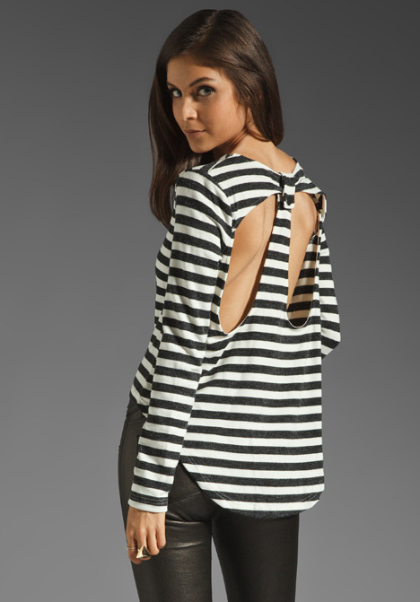 MinkPink Breath of Fresh Air Cut- Out Stripe Top