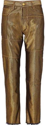 Marques Almeida Marques' Almeida - Metallic High-rise Straight-leg Jeans - Gold