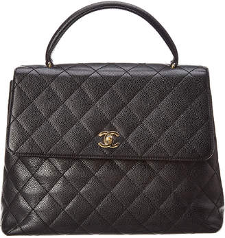 Chanel Black Quilted Caviar Leather Kelly Bag