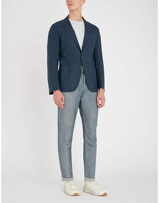 Eleventy Slim-fit wool, silk and linen-blend blazer