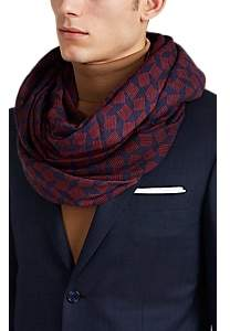 Charvet Lovat & Green Men's Wool Gauze Scarf - Navy