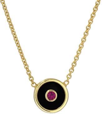 Retrouvaí Mini Black Onyx and Ruby Compass Necklace