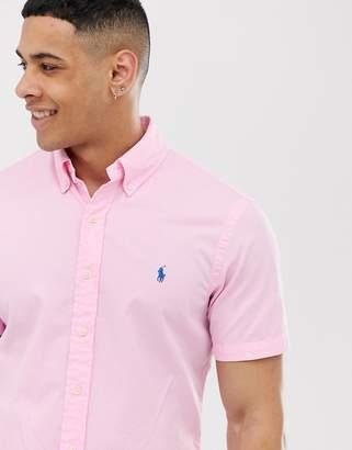 Polo Ralph Lauren player logo short sleeve lightweight twill shirt slim fit in pink