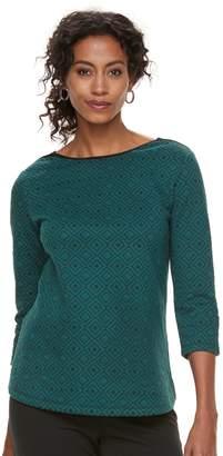 Croft & Barrow Women's Ribbed Shoulder Boatneck Pullover Top