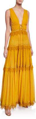 Jonathan Simkhai Plunge V-Neck Sleeveless Tiered Georgette Maxi Dress