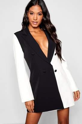 boohoo Monochrome Contrast Blazer Dress