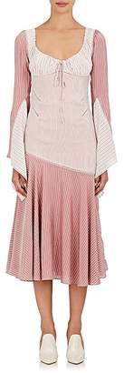 J.W.Anderson WOMEN'S STRIPED SILK PEASANT MAXI DRESS