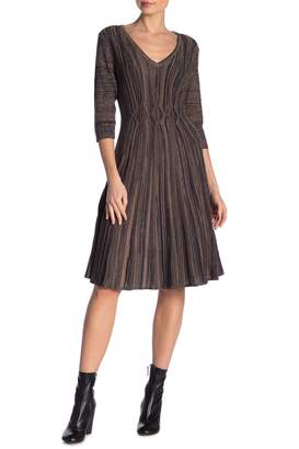 Connected Apparel V-Neck 3/4 Sleeve Knit Sweater Dress